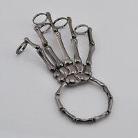Skeleton Punk Hand Bone Bracelet Bangle Ring Set Halloween Rock Alt Party Ghoul