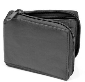 New Mens Zip Around Bifold Wallet Genuine Leather Black Coin Pocket Credit Card