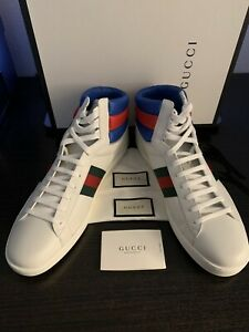 MEN'S GUCCI ACE HIGHTOP SNEAKERS WHITE SIZE 15 US / 14 GUCCI SIZE MADE IN ITALY