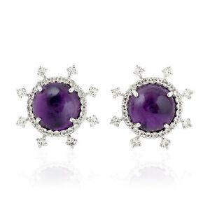 Amethyst And Topaz Sunburst Stud Earring 925 Silver Handmade Women's Jewelry