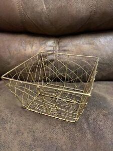 Decorative Wire Storage Basket Farmhouse Home Decor Gift Gold New