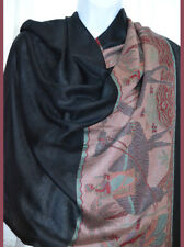 Black Pashmina Silk blend Shawl, Stole, Wrap Floral All Over  Design from India