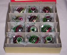 Christopher Radko SHINY BRITE Christmas Tree Ornaments 12 Ct  Indented/Reflector