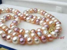 7-8mm, multicolore, perles d'eau douce,akoya,collier, 41cm