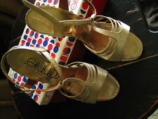 Vtg Gold Sparkly Connie Disco Shoes High Heel Strap Sandals Size 8 N Orig Box