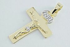 Crucifix in Solid 10k White & Yellow Gold Christian Catholic Cross Jesus Pendant