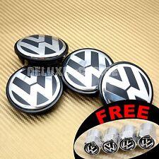 4 CAR ALLOY WHEEL RIM CENTER LOGO CAP HUB 56mm for VW VOLKSWAGEN BLACK 1JO601171