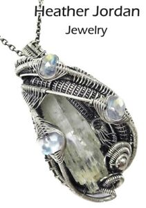 Natural Aquamarine Wire-Wrapped Pendant in Sterling Silver w Rainbow Moonstone