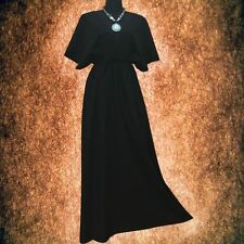 Gothic Solid Charcoal Black Hand dyed Casual Kimono Sleeve maxi dress