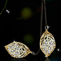 Fashion Gold/Silver Crystal Rhinestone Leaf Pendant Necklace Sweater Jewelry