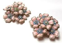 "Vintage Flower Clip on Earrings 2-1/4"" Pink With Blue Rhinestone Hard Plastic"