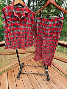 Ralph Lauren Women's M Red Green Plaid Flannel Pajama Set PJs Shirt Lounge Pants