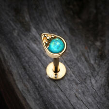 Golden Opalescent Teardrop Top Steel Labret