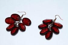 Brown Cluster Dangle Earrings, Acrylic