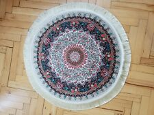 2.5x2.5 ft, turkish silk oushak design, circle rug, floral design wall covering