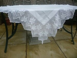 antique tablecloth with deep hand crochet lace and embroidery daffodils