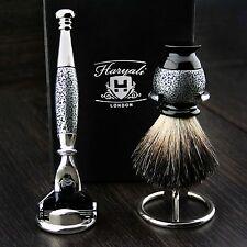 Sliver Antique 4Pcs Men's Shaving Set(Gillette Mach 3 Razor,Badger Brush&Stands)