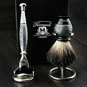 Sliver Antique Men's Shaving Set Shaving Razor, Badger Hair Brush & Stands
