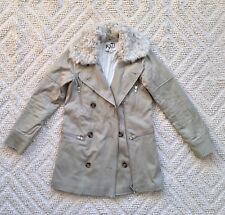 REISS 1971 Khaki DOUBLE BREASTED Real Sheepskin Collar PARKA COAT XS 6 8 36