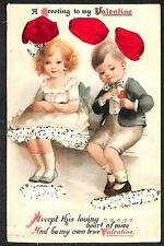 VALENTINE HOLIDAY CHILDREN GLITTER RIBBON NOVELTY POSTCARD (c. 1910)