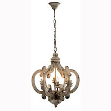 "Antiqued Wood-Metal Chandelier 20.5""x18""x24"" - DT38552"