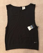 Nike Dri Fit Black Polyester Nylon Sleeveless Workout Top $70 NEW #B8