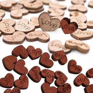 100x Love Heart Wooden Confetti Table Decoration Wood Table Scatter Wedding