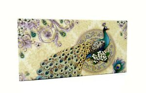 Punch Studio Desk Accessory Flip Top Divided Box Ivory Peacock 50799 Jewelry