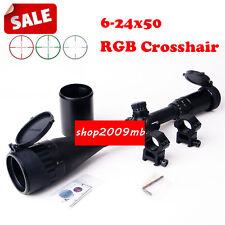 """SALE! 6-24x50mm RGB Mil-Dot Scope Sight W/ 1"""" Ring 20mm Rail Mount Rifle Hunting"""