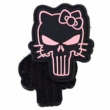 PVC Morale Patch Punisher Pink Kitty 3D Badge Hook #29 Paintball Airsoft