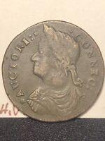 1787 Connecticut Copper Colonial Coin M.31.1-r.4.nice high grade coin