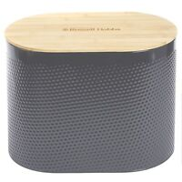 Russell Hobbs Grey Embossed Oval Bread Bin Food Storage Canister with Bamboo Lid