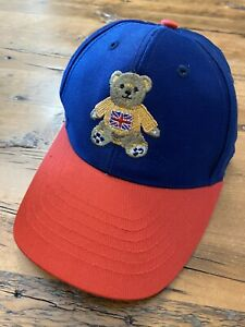 British Bear Youth Baseball Hat Cap One Size Navy Blue & Red Embroidered England