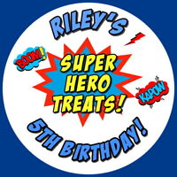 PERSONALISED SUPERHERO TREAT GLOSS BIRTHDAY  SCHOOL STICKERS,SWEET CONE LABELS