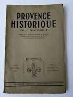 PROVENCE HISTORIQUE Juillet/Sept 1955 Revue ancienne Archives Marseille CNRS