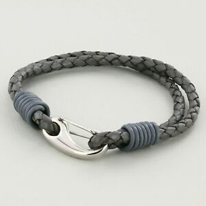 Grey Unisex real Leather Braided Wristband Bracelet Stainless Steel Clasp 3mm