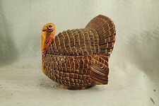 old Ceramic Thanksgiving Turkey bird brown covered dish candy bowl decoration