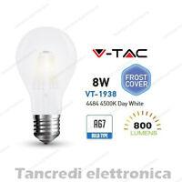 Lampadina led V-TAC 8W E27 bianco naturale 4500K VT-1938 A67 bianca filamento