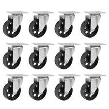 12pcs Heavy Duty Cast Iron Top Plate Bearing Caster 3 Wheels Swivel Casters