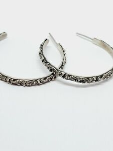 Lois Hill 925 Sterling Silver Indonesia Classic Hoop Earrings