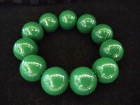 Vintage Green Lucite Chunky Bead Stretch Bracelet
