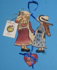 Sisters Wall Hanger Blue Sky Clayworks by Artist Heather Goldminc Nib