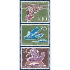 POLYNESIE POSTE AERIENNE N°_89 A 91 UN DEMI-SIECLE D'AVIATION A TAHITI 1974