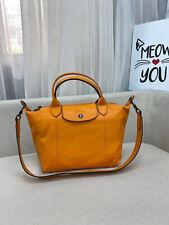 Longchamp Le Pliage Cuir Klein Leder Kurzen Henkeln Handtasche/Shopper Orange