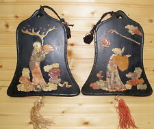 Antique (2) Chinese Wood Plaque with Inlaid Carved Stone, Man Flower- Bell Shape
