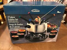 Trudeau 17 Piece Stainless Steel Fondue Set for 6  New Unused