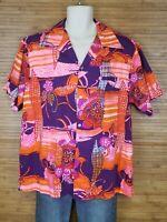 Vintage Keokis Hawaiian Sportswear Rayon Crepe Aloha Shirt Mens XL Psychedelic
