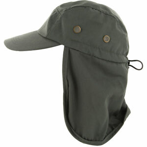 Mens Outdoor Fishing Hiking Army Military Snap Brim Neck Cover Sun Flap Hat SJP