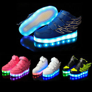 7 Colors Kid Boy Girl Upgraded USB Charging LED Light up Shoes Flashing Sneakers