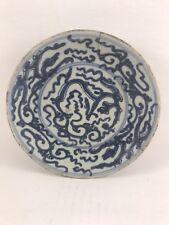 Ancienne assiette en porcelaine de la CHINE signée sous couverte bleu